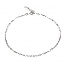 Wholesale Sterling Silver 925 Rhodium Plated Rolo 2mm Anklet - CHA231RH