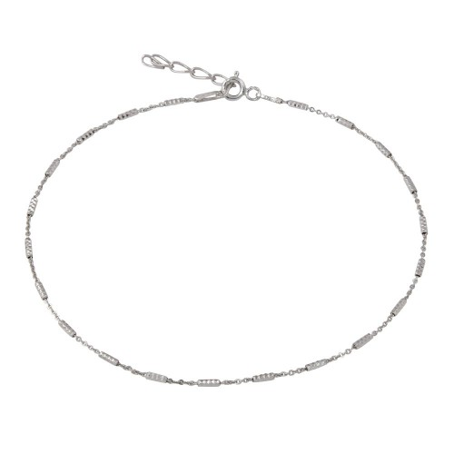 Wholesale Sterling Silver 925 Rhodium Plated DC Bar 030 Anklet 1.4mm - CHA271RH