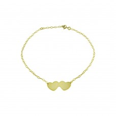 Sterling Silver Gold Plated Double Heart Anklets - DIA00002GP