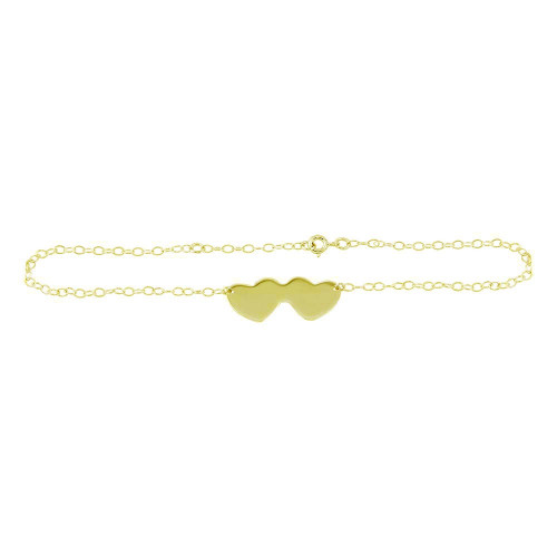 Wholesale Sterling Silver 925 Gold Plated Double Heart Anklets - DIA00002GP
