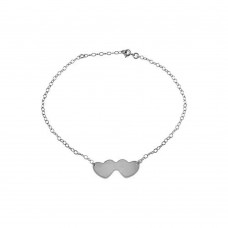 Wholesale Sterling Silver 925 Rhodium Plated Double Heart Anklets - DIA00002RH
