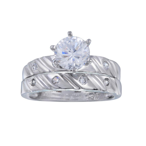 Wholesale Sterling Silver 925 Rhodium Plated Clear Solitaire CZ Engagement Ring Set - ANT00006