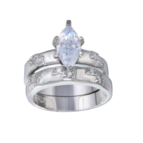 Wholesale Sterling Silver 925 Rhodium Plated Clear Marquise CZ Engagement Ring Set - ANT00012