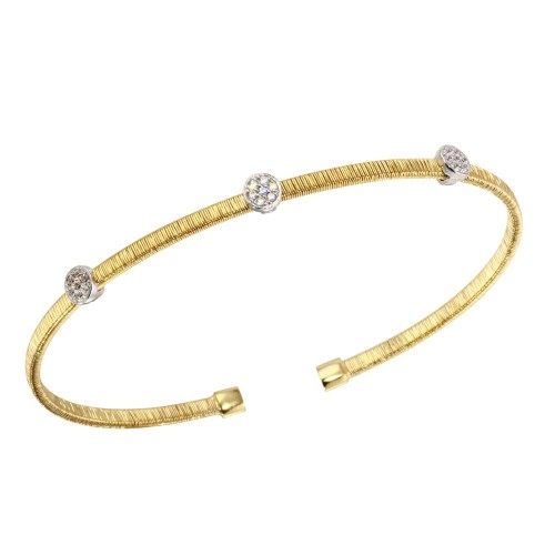 Wholesale Sterling Silver 925 Gold Plated Adjustable Bangle with CZ - ARB00005GP