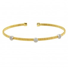 Wholesale Sterling Silver 925 Gold Plated Three Rhodium Circle Open Bangle with CZ - ARB00005GP