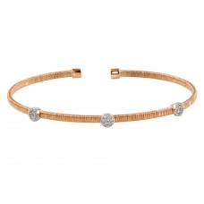 Wholesale Sterling Silver 925 Rose Gold Plated Three Rhodium Circle Open Bangle with CZ - ARB00005RGP