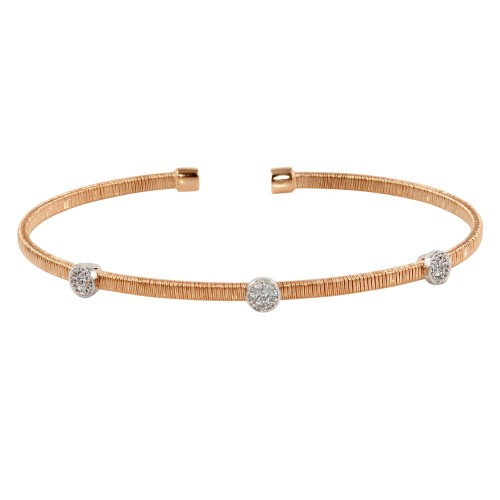 Wholesale Sterling Silver 925 Rose Gold Plated Adjustable Bangle with CZ - ARB00005RGP