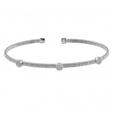 Wholesale Sterling Silver 925 Rhodium Plated Three Rhodium Circle Open Bangle with CZ - ARB00005RH