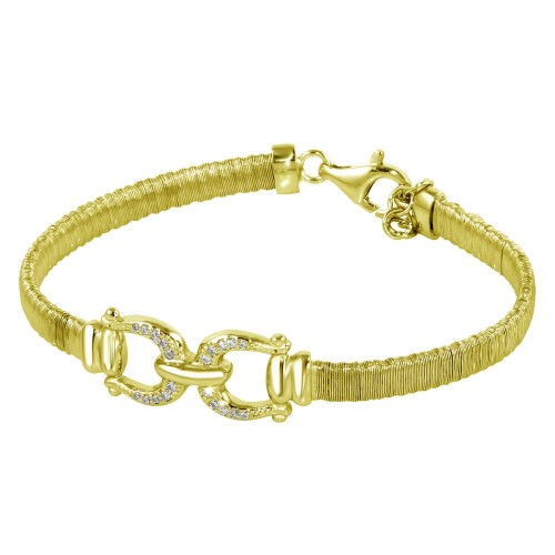 Wholesale Sterling Silver 925 Gold Plated Buckle Bracelet with CZ - ARB00037GP