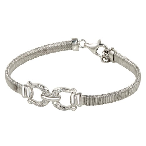 Wholesale Sterling Silver 925 Rhodium Plated Buckle Bracelet with CZ - ARB00037RH