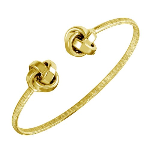Wholesale Sterling Silver 925 Gold Plated Knot Cuff Bracelets - ARB00050GP