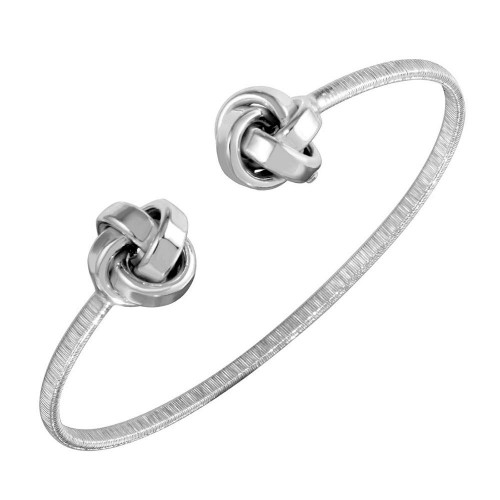 Wholesale Sterling Silver 925 Rhodium Plated Knot Cuff Bracelets - ARB00050RH