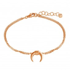 Wholesale Sterling Silver 925 Rose Gold Plated Crescent Chain Bracelet - ARB00051RGP