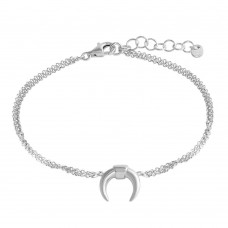 Wholesale Sterling Silver 925 Rhodium Plated Crescent Chain Bracelet - ARB00051RH