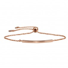 Wholesale Sterling Silver 925 Rose Gold Plated Curve Lariat Bracelet - ARB00052RGP