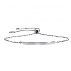 Wholesale Sterling Silver 925 Rhodium Plated Curve Lariat Bracelet - ARB00052RH