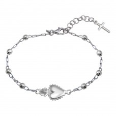 Wholesale Sterling Silver 925 Rhodium Plated Heart Center DC Bead Bracelet - ARB00053RH