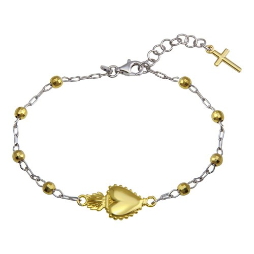 Wholesale Sterling Silver 925 Gold Plated 2 Toned Heart Center DC Bead Bracelet - ARB00053RH/GP