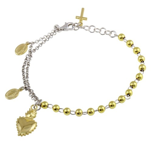 Wholesale Sterling Silver 925 Gold Plated 2 Toned Heart Center Dangling Charm Bead Bracelet - ARB00054RH/GP