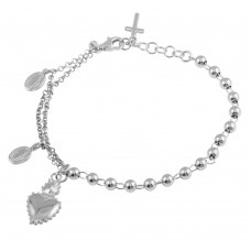Wholesale Sterling Silver 925 Rhodium Plated 2 Toned Heart Center Dangling Charm Bead Bracelet - ARB00054RH