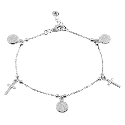 Wholesale Sterling Silver 925 Rhodium Plated 2 Toned Dangling Charm Bead Bracelet - ARB00056RH
