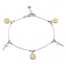 Wholesale Sterling Silver 925 Gold Plated 2 Toned Dangling Charm Bead Bracelet - ARB00056RH/GP