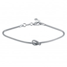 Wholesale Sterling Silver 925 Rhodium Plated Knot Bracelet - ARB00058RH