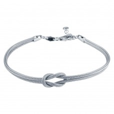 Wholesale Sterling Silver 925 Rhodium Plated Double Chain Knot Bracelet - ARB00059RH