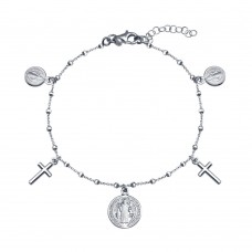 Wholesale Sterling Silver 925 Rhodium Plated Multiple Dangling Cross Medallion Bracelet - ARB00062RH