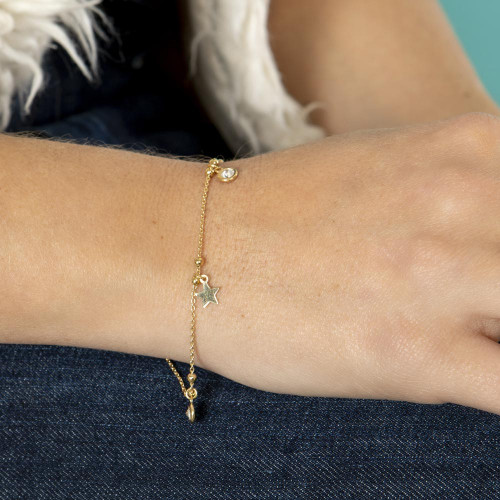Wholesale Sterling Silver 925 Gold Plated Star and Clear CZ Bracelet - ARB00063GP