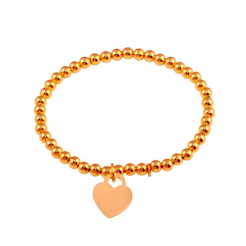 Wholesale Sterling Silver 925 Rose Gold Plated Heart  Beaded Bracelet - ARB00064RGP