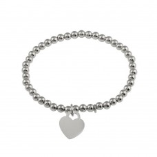Wholesale Sterling Silver 925 Rhodium Plated Heart  Beaded Bracelet - ARB00064RH
