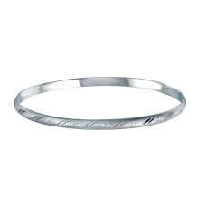 Wholesale Sterling Silver 925 Rhodium Plated Flat Bangle 65mm - ANB00002