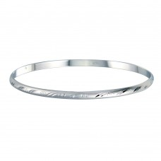 Wholesale Sterling Silver 925 Rhodium Plated Flat Bangle 72mm - ANB00001