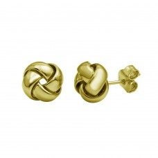 Wholesale Sterling Silver 925 Gold Plated Knot Stud Earrings - ARE00024GP