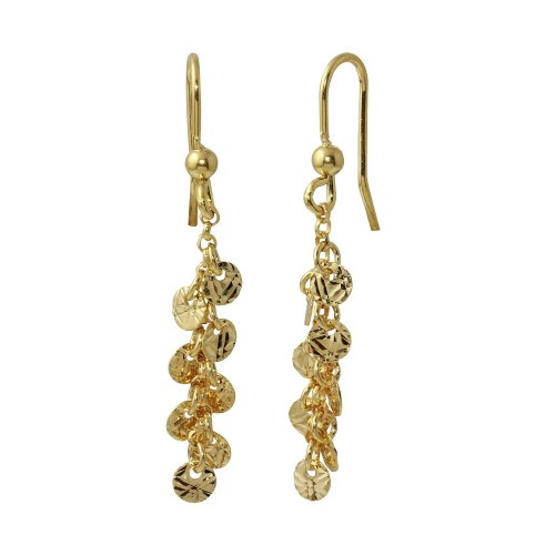 Wholesale Sterling Silver 925 Gold Plated Dangling Confetti Earrings - ARE00025GP