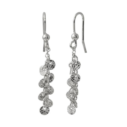 Wholesale Sterling Silver 925 Rhodium Plated Dangling Confetti Earrings - ARE00025RH