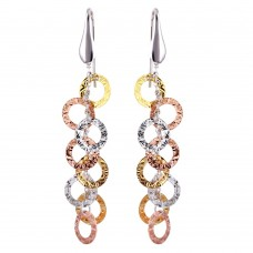 Sterling Silver Tri-Colored Dangling Circle Earrings - ARE00004TRI