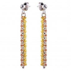 Wholesale Sterling Silver 925 Tri-Color Tassel Earrings - ARE00012TRI