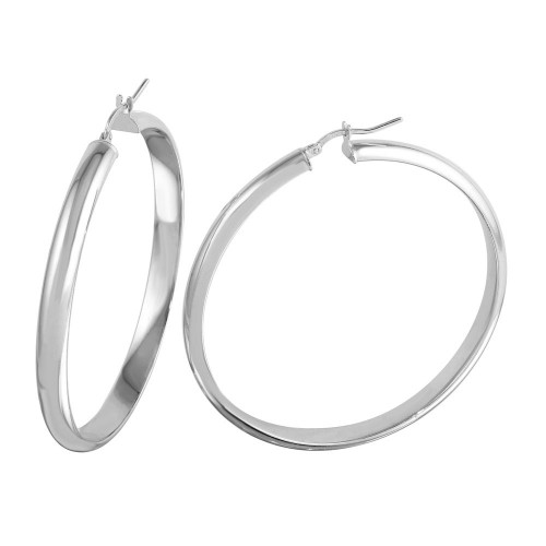 Wholesale Sterling Silver 925 Rhodium Plated Electroforming Rounded Hoop Earrings - ARE00023RH