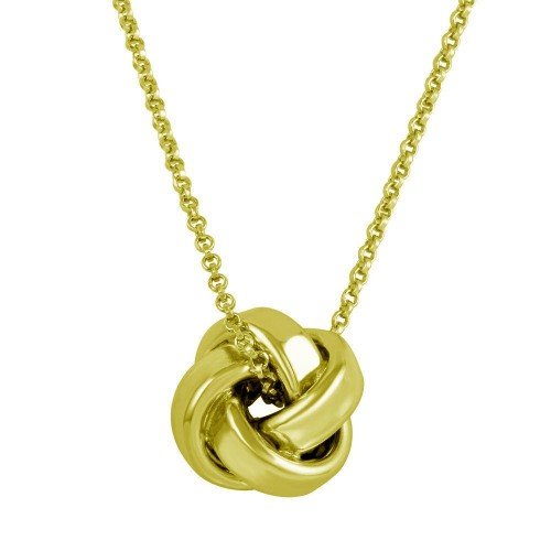 Wholesale Sterling Silver 925 Gold Plated Knot Pendant Necklace - ARN00043GP