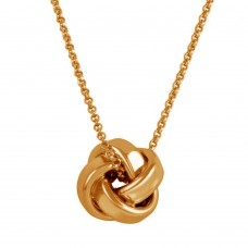 Wholesale Sterling Silver 925 Rose Gold Plated Knot Pendant Necklace - ARN00043RGP