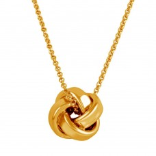 Sterling Silver Rose Gold Plated Knot Pendant Necklace - ARN00043RGP