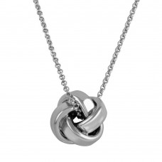 Sterling Silver Rhodium Plated Knot Pendant Necklace - ARN00043RH