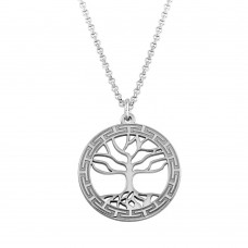 Sterling Silver Rhodium Plated Tree of Life Pendant Necklace - ARN00044RH