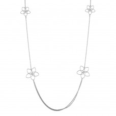 Sterling Silver Rhodium Plated Flower Necklace - ARN00045RH