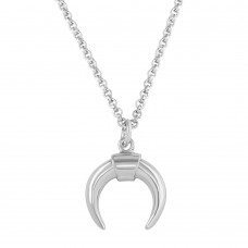 Wholesale Sterling Silver 925 Rhodium Plated Crescent Necklace - ARN00046RH