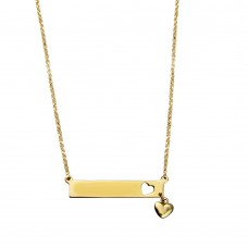 Wholesale Sterling Silver 925 Gold Plated Bar Pendant Necklace with Heart Charm - ARN00047GP