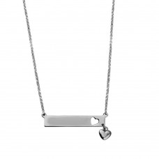 Wholesale Sterling Silver 925 Rhodium Plated Bar Pendant Necklace with Heart Charm - ARN00047RH