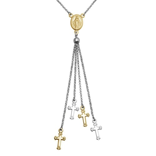Wholesale Sterling Silver 925 Rhodium and Gold Plated Rosary Tassel Necklace - ARN00048RH/GP